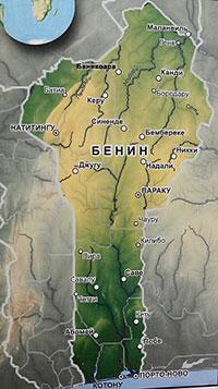 Карта Бенина с городами