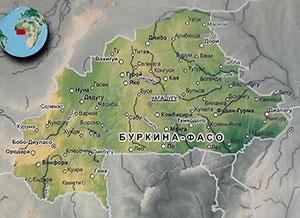 Карта Буркина-Фасо с городами