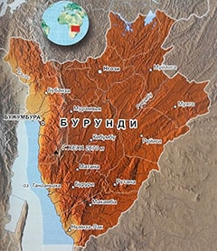 Подробная карта Бурунди