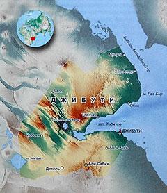 Карта Джибути с городами