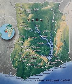 Карта Ганы с городами