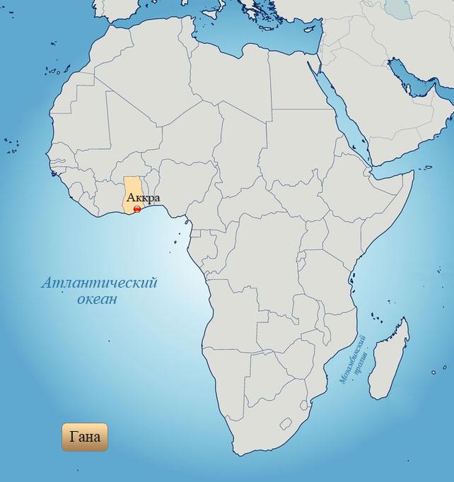 Гамбия: страна на карте Африки