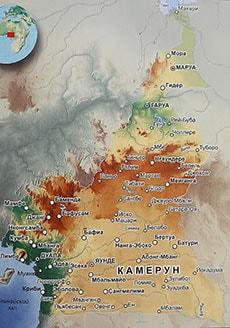 Карта Камеруна с городами
