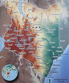 Карта Кении с городами