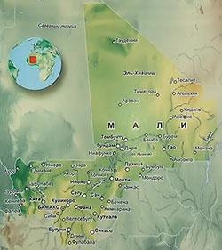 Карта Мали с городами