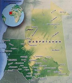 Карта Мавритании с городами