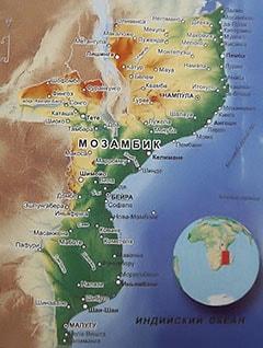 Карта Мозамбика с городами