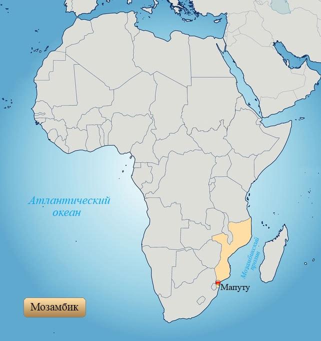 Мозамбик: страна на карте Африки
