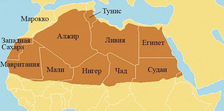 Пустыня Сахара карта