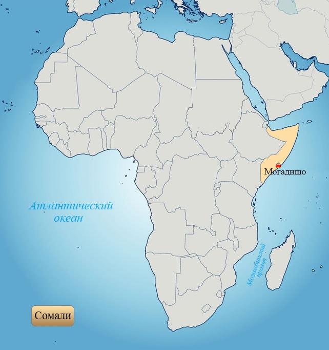 Сомали: страна на карте Африки