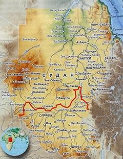 Карта Южного Судана с городами