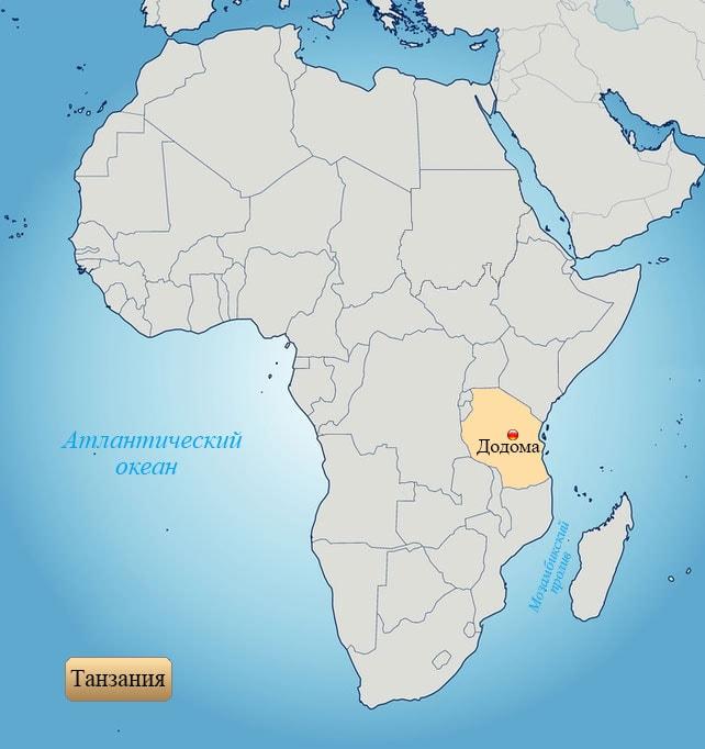 Танзания: страна на карте Африки