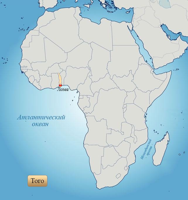 Того: страна на карте Африки