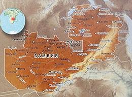 Карта Замбии с городами