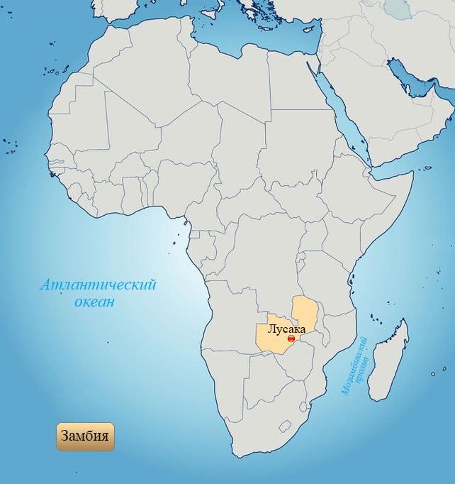 Замбия: страна на карте Африки